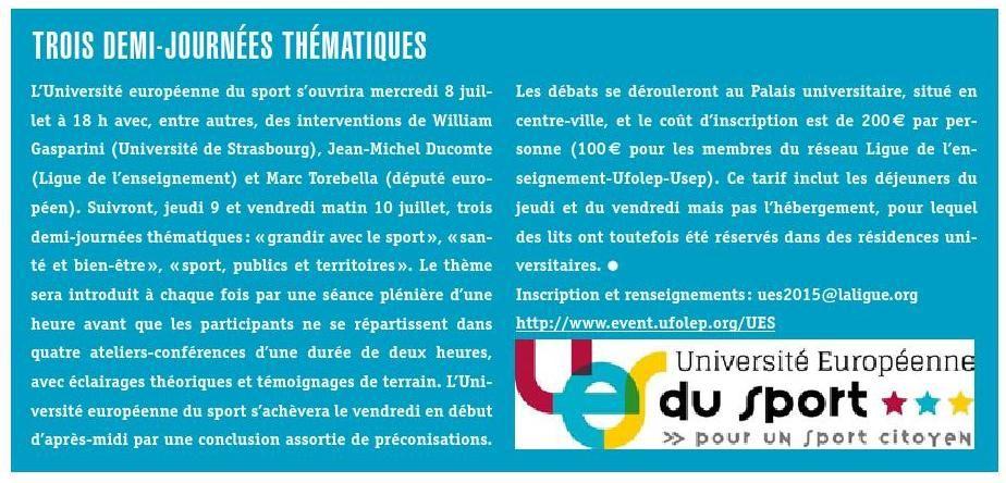 """""""Le sport citoyen de demain se construit à Strasbourg"""" #UES2015 #laliguedelenseignement #ufolep #usep #sport #europe"""