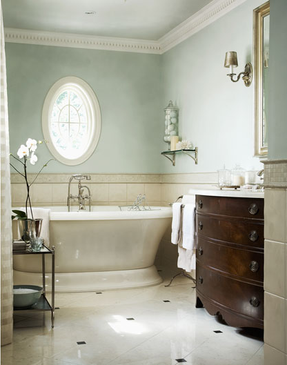 Bon Chic Neutral Bathroom, Love The Soft Color On The Walls, Oval Window,  Bathtub, Floor And The Dark Wood Vanity Sink.