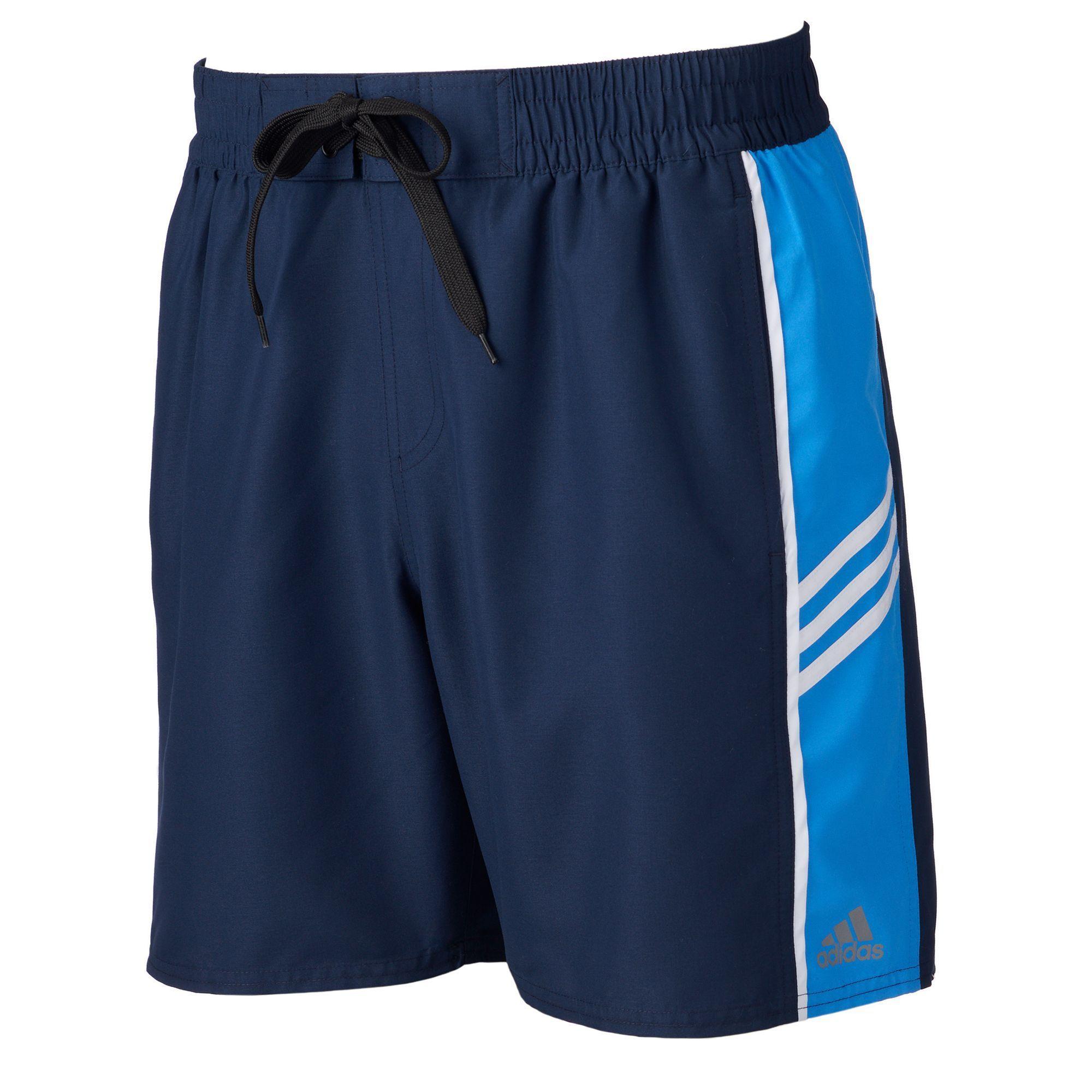 7081853f4f9 Men's Adidas Colorblock Microfiber Volley Swim Trunks, Size: Medium, Blue  (Navy)