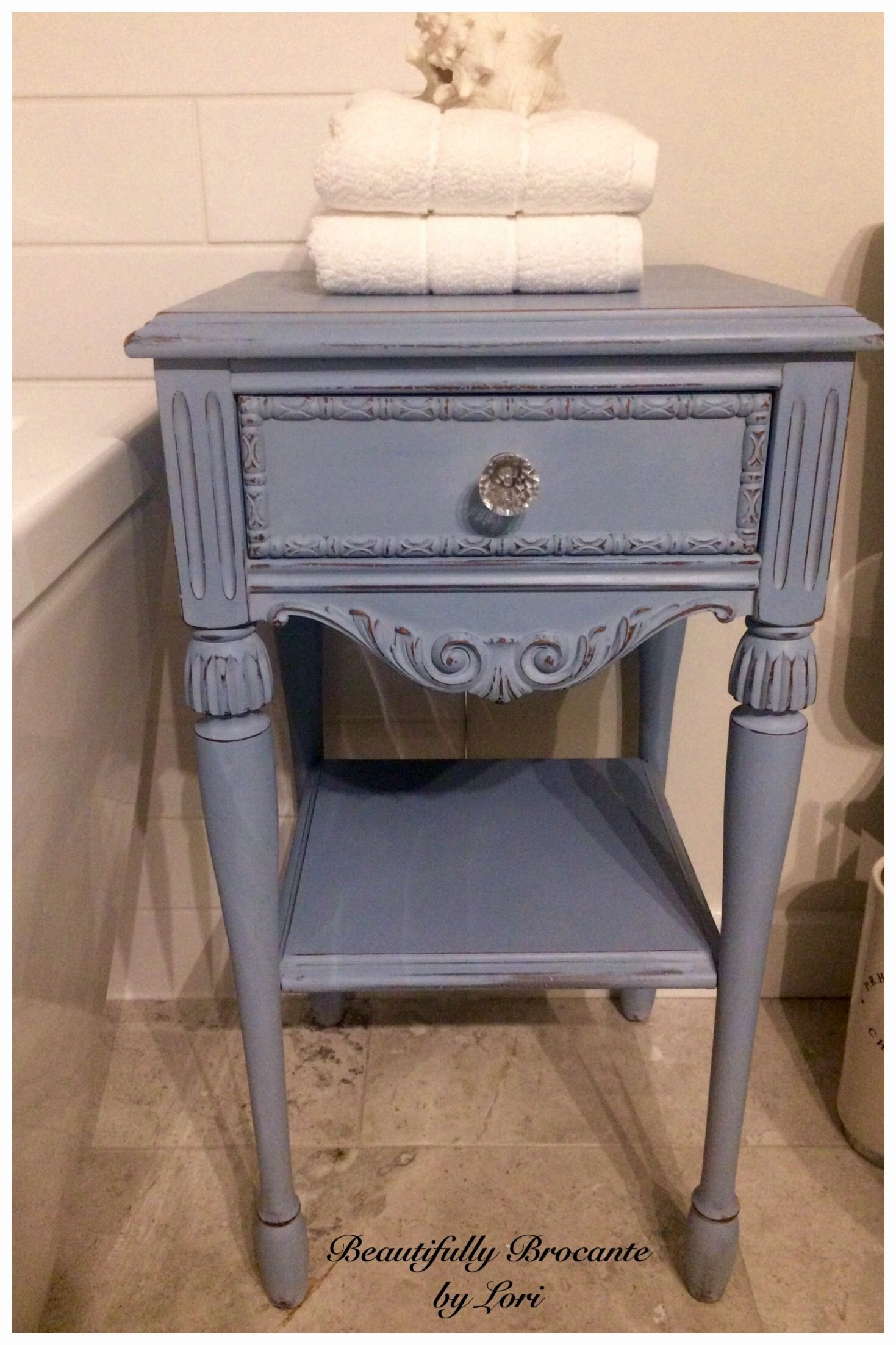 Antique Side Table Painted In Annie Sloan Chalk Paint Louis Blue Distressed And Clear Waxed New Gl Painted Furniture Colors Redo Furniture Colorful Furniture