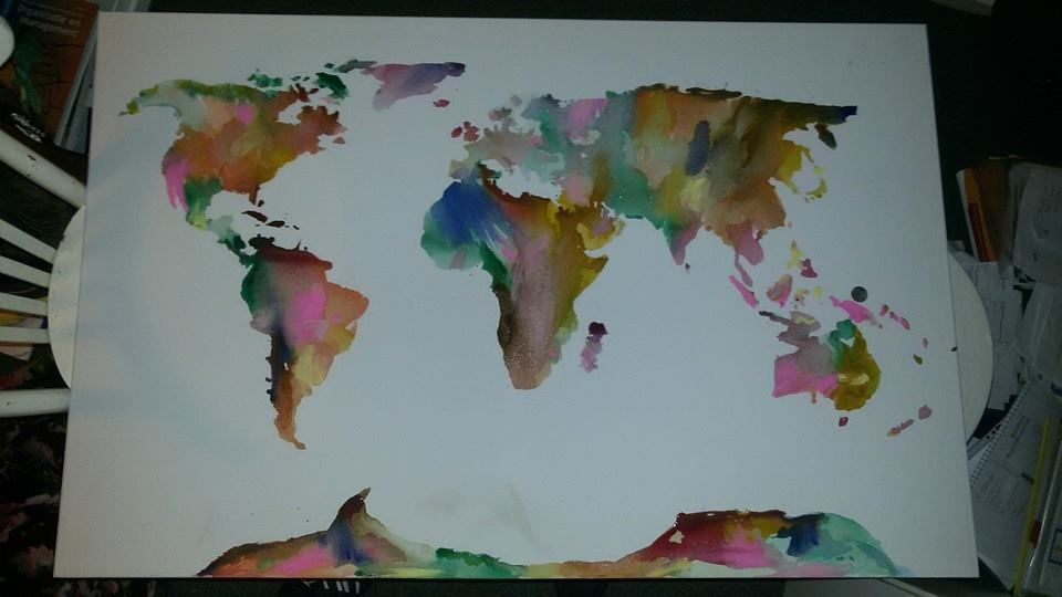 water colour world map