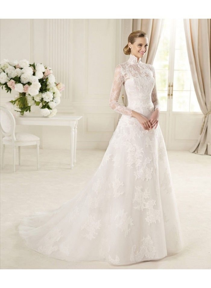 Empire A Line High Neck Long Sleeves Sweep Train Lace Wedding