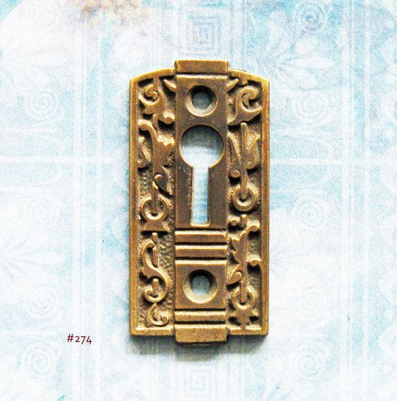 Eastlake Brass Gothic Keyhole Escutcheon Antique Victorian Key Plate Furniture Hardware : antique key plate - pezcame.com