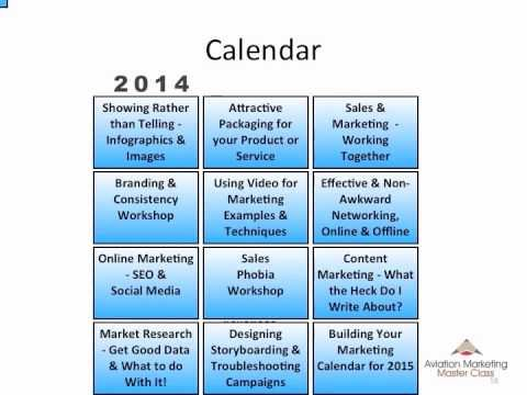 Aviation Marketing Master Class - Your Marketing Calendar for 2014 - what is a marketing calendar