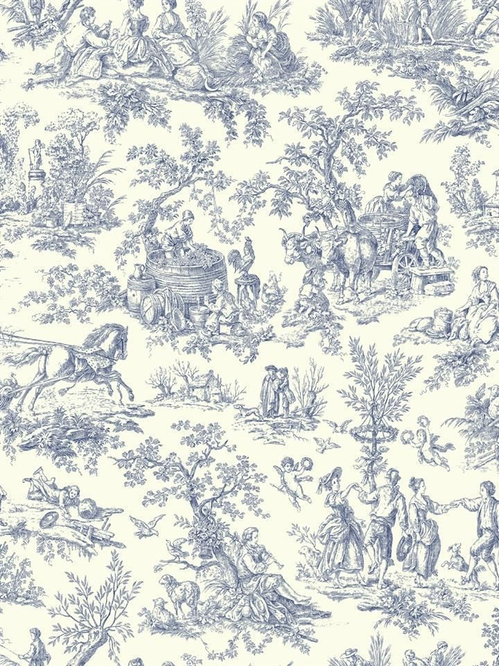 Wallpaper Designer Blue French Country Life Toile On Eggshell White Blue French Country French Country Bedrooms French Country
