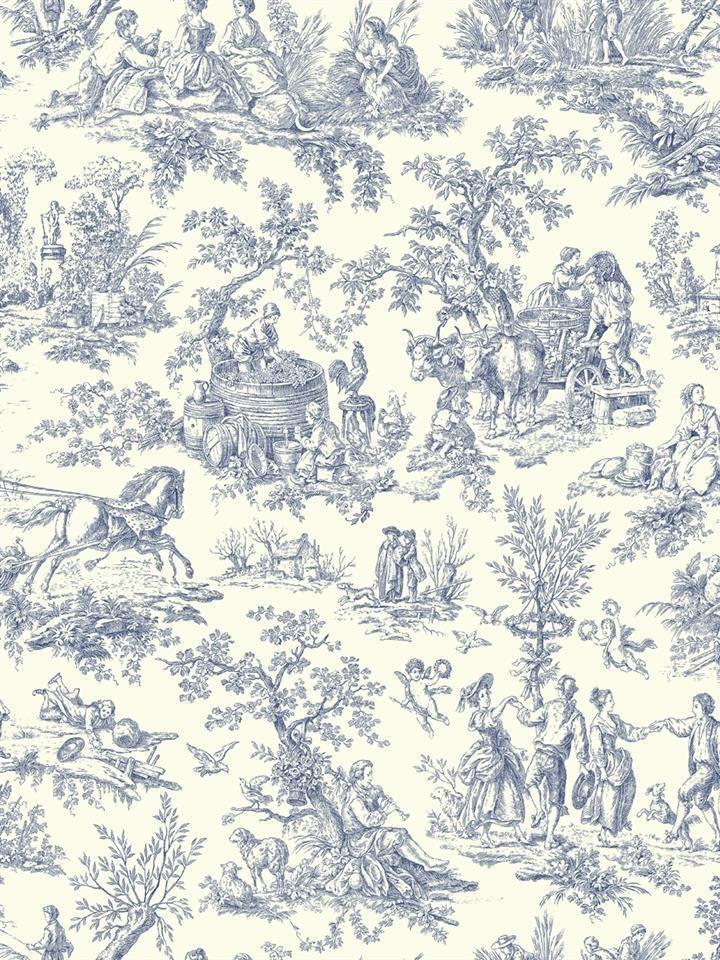 Wallpaper Designer Blue French Country Life Toile On Eggshell