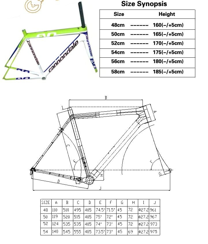Cannondale Supersix Evo Size Chart Carbon Road Bike Cycling Art Bicycle Accessories