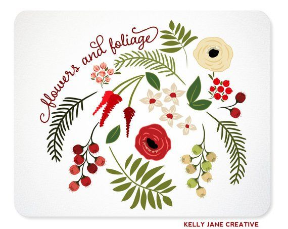 Christmas Greenery Vector.Christmas Flowers Greenery Clip Art Botanical Clipart