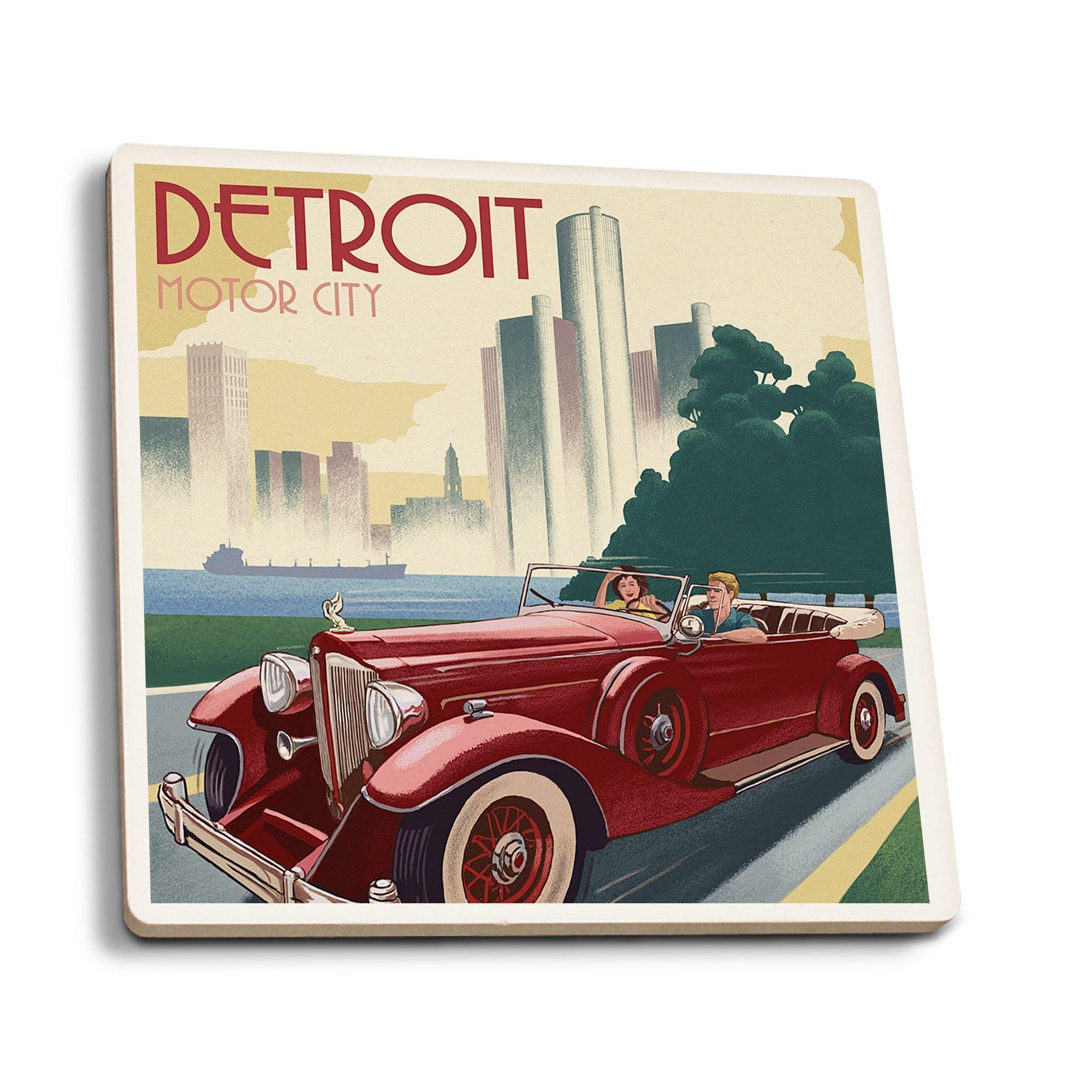 Detroit, Michigan Vintage Car & Skyline Lantern Press