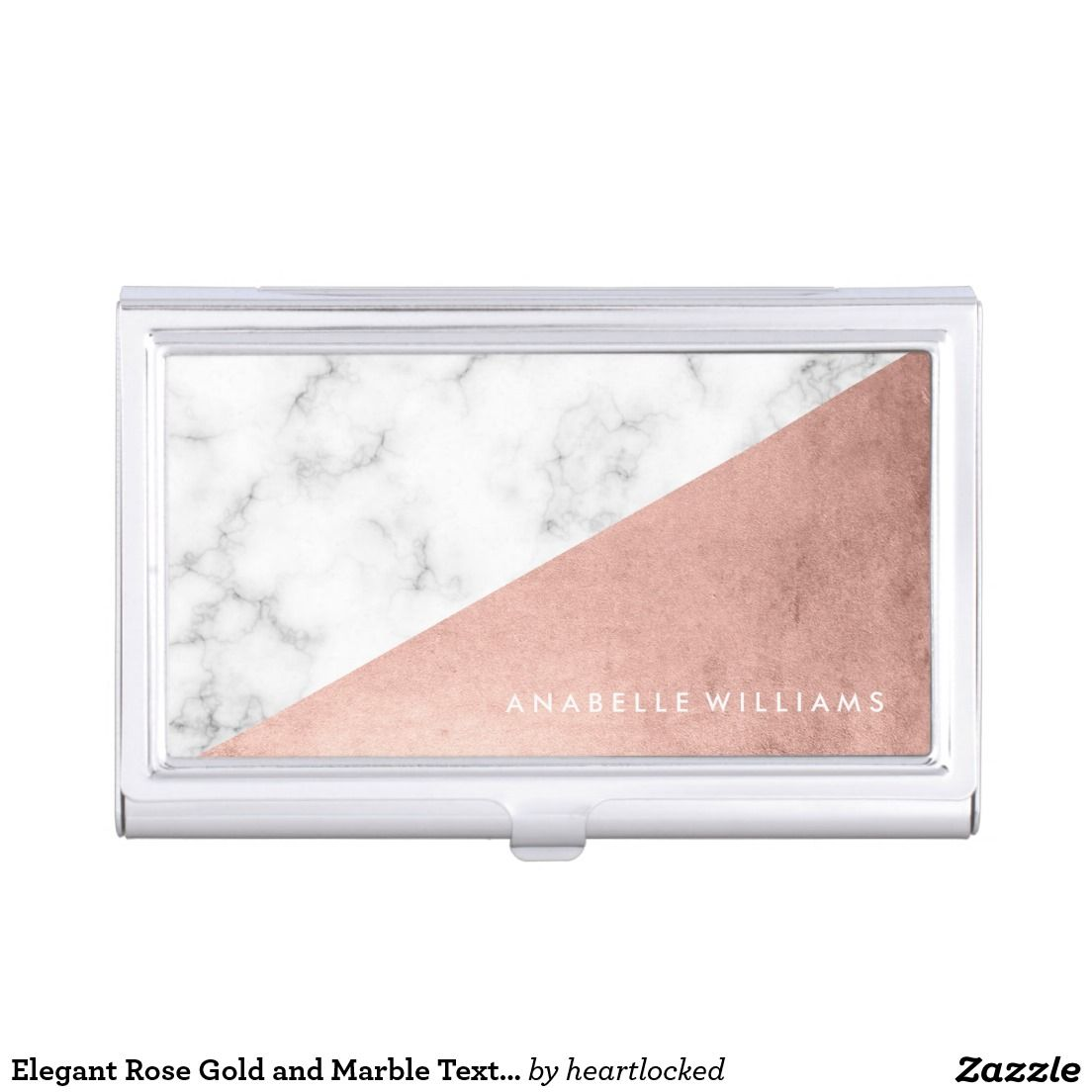 Elegant Rose Gold and Marble Texture Business Card Holder | Business ...