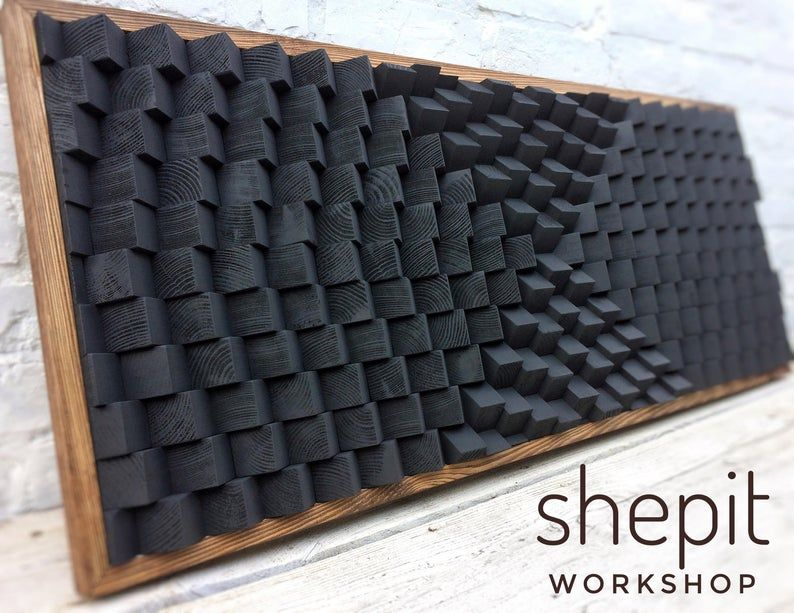 Sound Diffuser Acoustic Panel Large Wood Wall Art Black Etsy In 2020 Large Wood Wall Art Acoustic Panels Etsy Wall Art