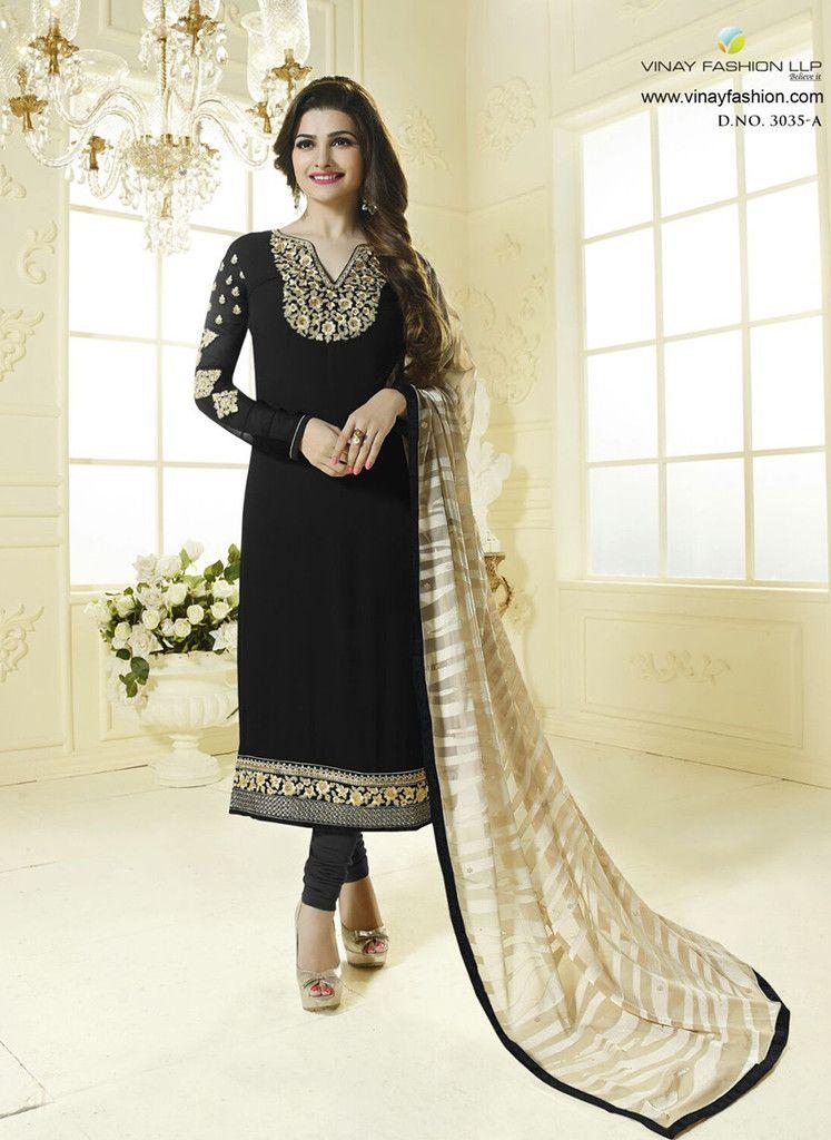 0674669e15 Vinay Fashion 3035A Black Color Georgette Designer Suit | Vinay ...