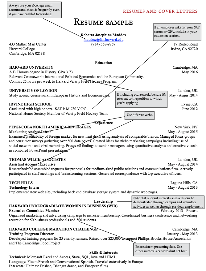 Sample Harvard College Resumes Examples Resume Cv