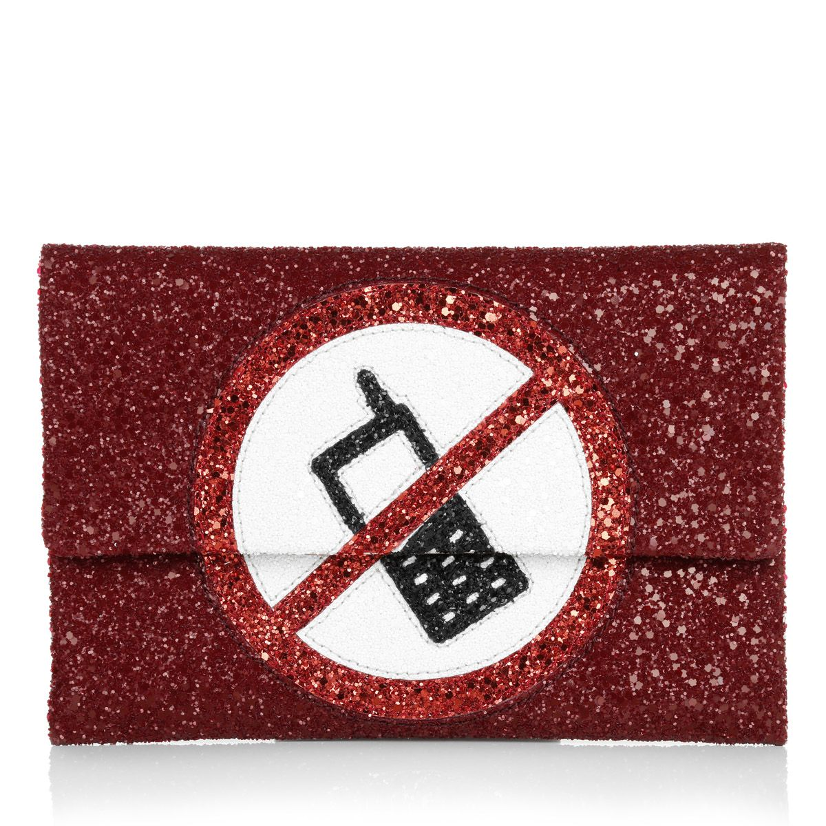 """What a lovely statement clutch by Anya Hindmarch! The """"Valorie No Mobiles"""" in red glitter is the perfect handbag to make your outfit ready for a long night and funny party! But please note: no cell phones!!!! Fashionette.de"""