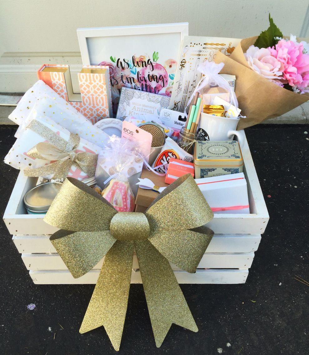 Crafty alpha phi big and little sorority basket so cute for Sorority crafts for little