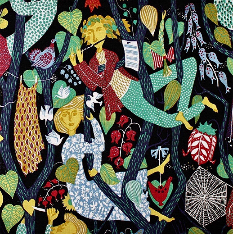 Swedish vintage fabric 50s fabric Stig Lindberg handprinted Melodi black scandinavian design quality linen midcentury modern fabric