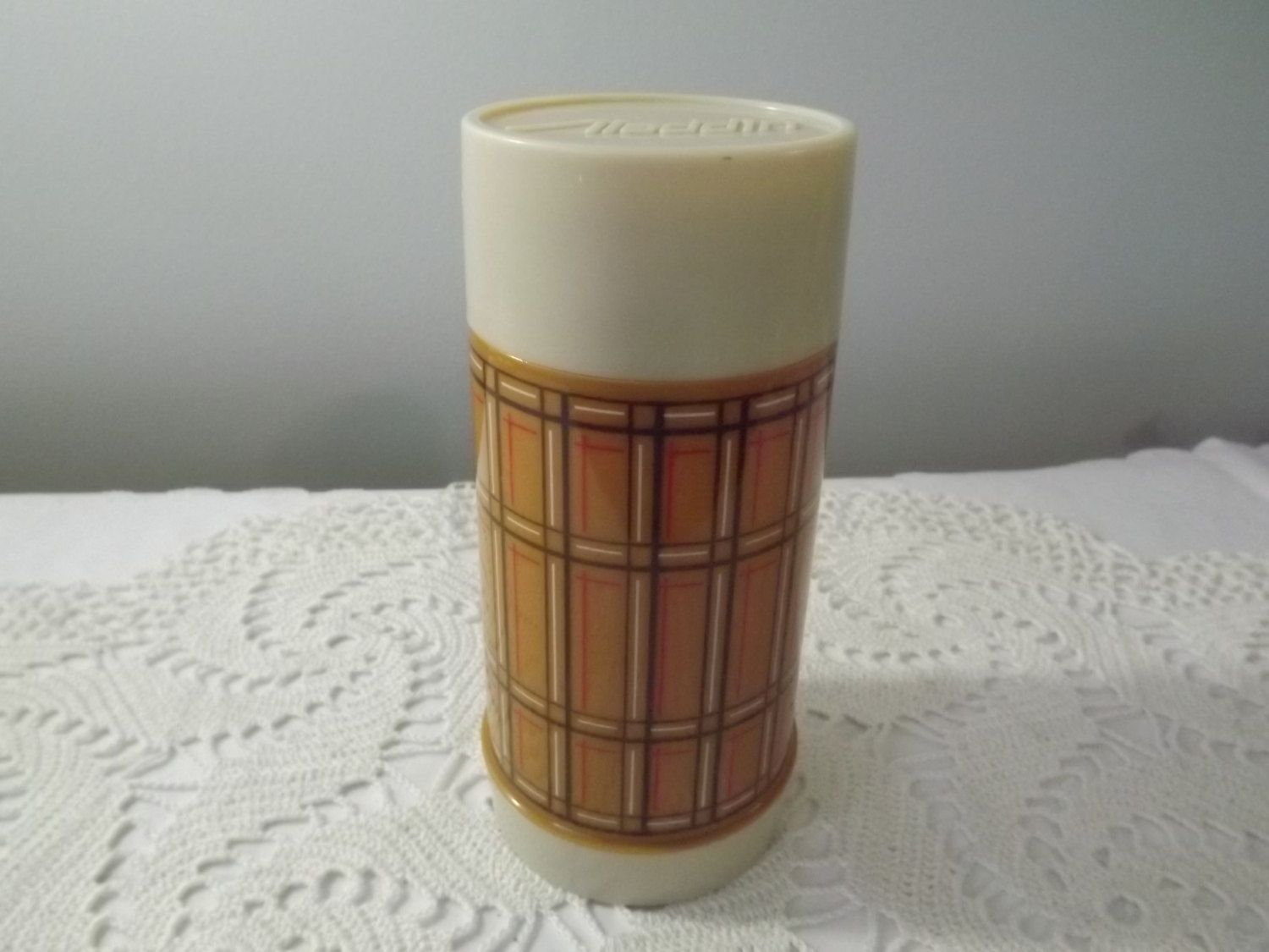 vintage aladdin best buy thermos vacuum bottle brown plaid for hot or cold beverages