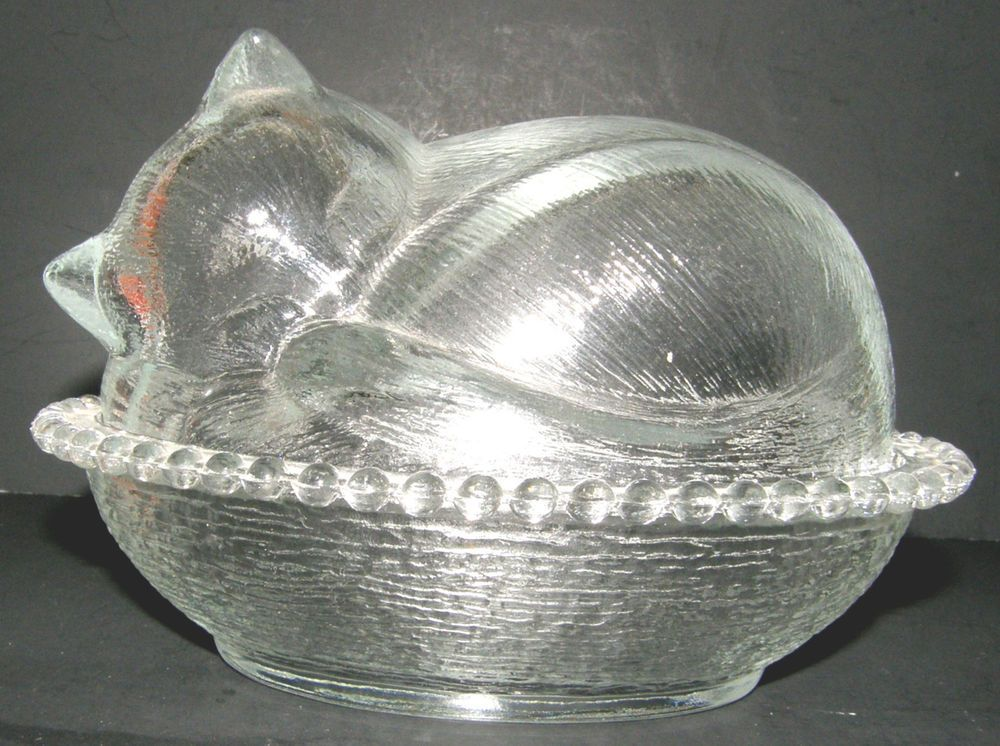 Indiana Glass Co Clear Glass Sleeping  Cat on Basket Covered Candy Dish