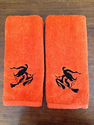 Flying Witch Bathroom Hand Towel Set Hand towel sets and Hand towels - halloween bathroom sets