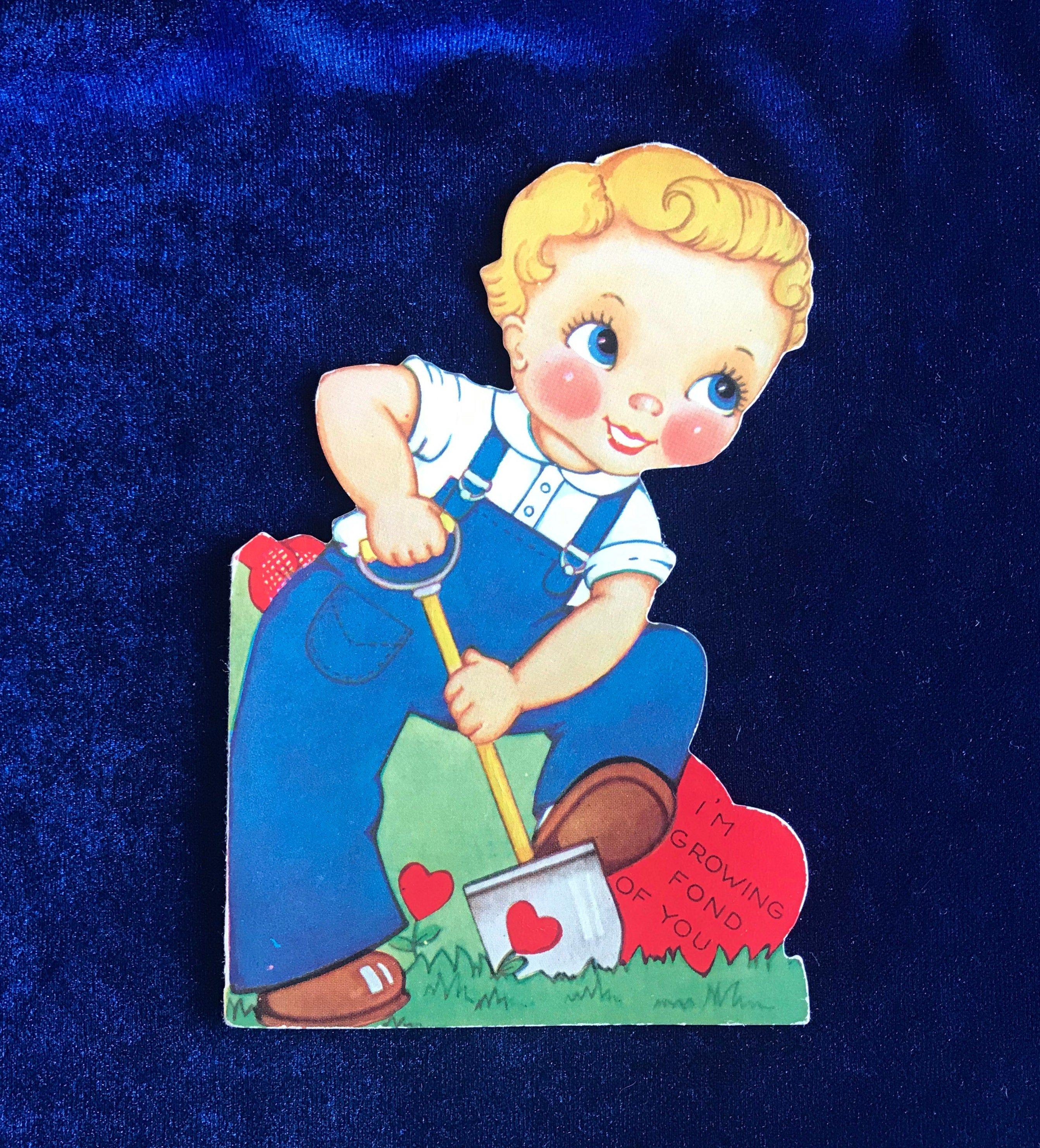 1930's gardening boy valentine card  etsy  boy valentine