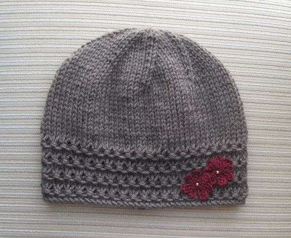 Instant Download Knitting Pattern #146 Taupe Hat with Crochet ...