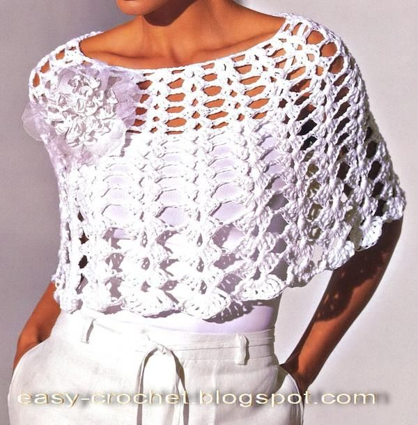 White Crochet Poncho spring | chales | Pinterest | Ganchillo ...