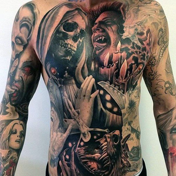 Vampire Tattoos On The Stomach For Guys