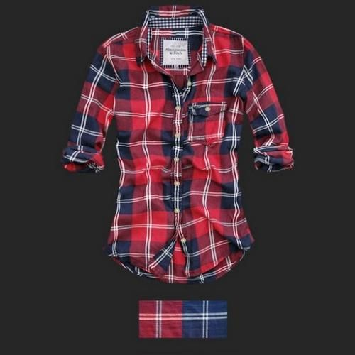 Plaid shirts for women abercrombie fitch women plaid for Womens navy plaid shirt