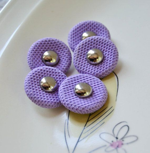 purple covered buttons | Vintage Purple Fabric Covered Buttons with Silver - 369
