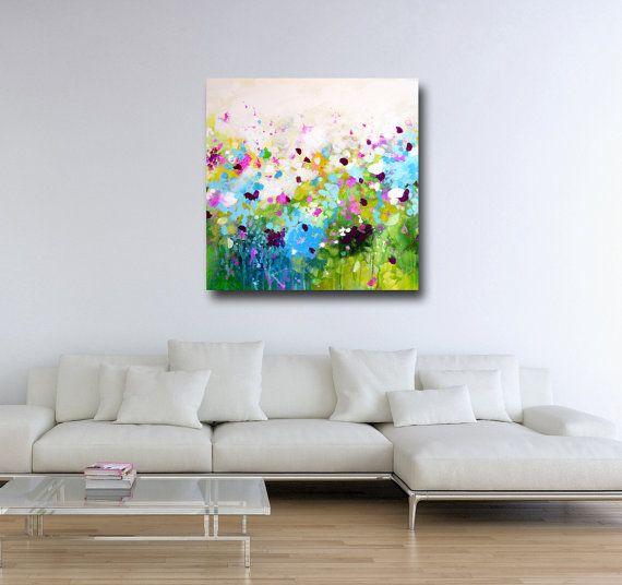 Large Canvas Art Print, Wall Art, Yellow Green Purple ...