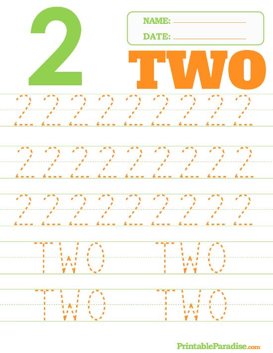 Printable Number 2 Tracing Worksheet | Worksheets, handouts | Pinterest