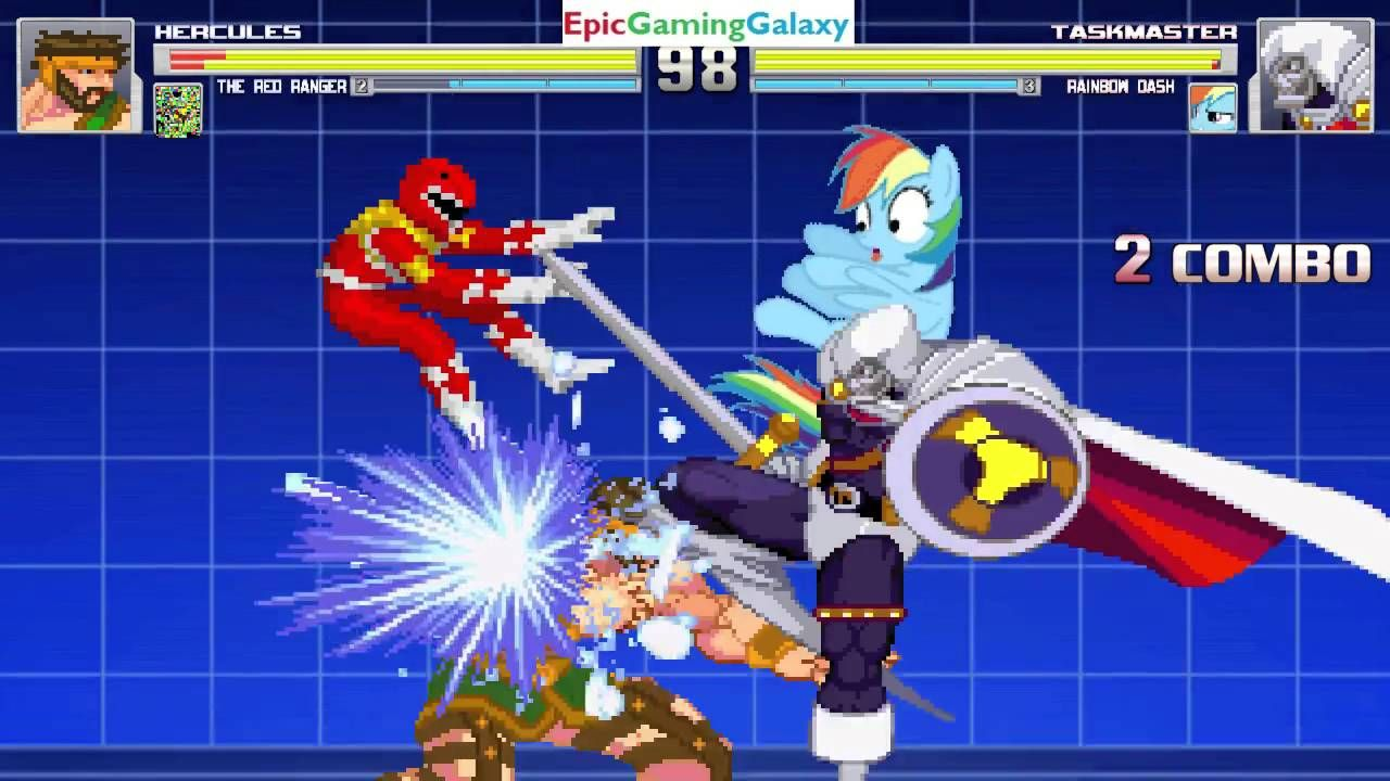 Red Ranger And Hercules VS Taskmaster And Rainbow Dash In A