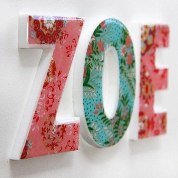 nice christmas gift: Handmade personalised girls names letters by mooza on Etsy