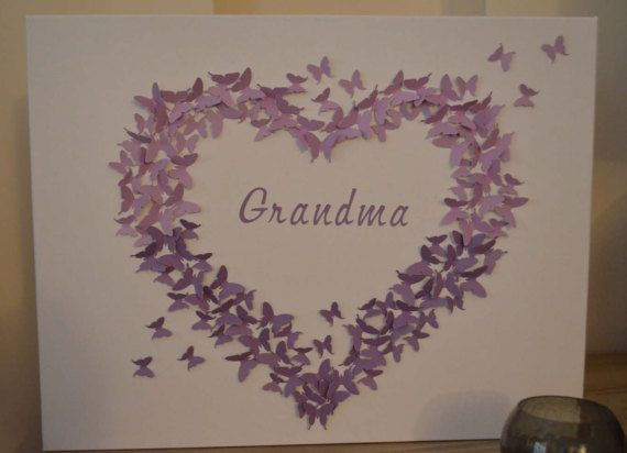 3d Purple Ombre Butterfly Canvas/Wall Art/Butterfly Heart/Wall