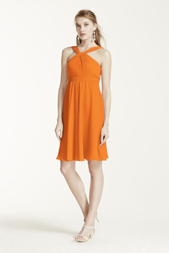 b7e4f8a6b915 Short Crinkle Chiffon Bridesmaid Dress with Halter Style F15600, Tangerine,  2