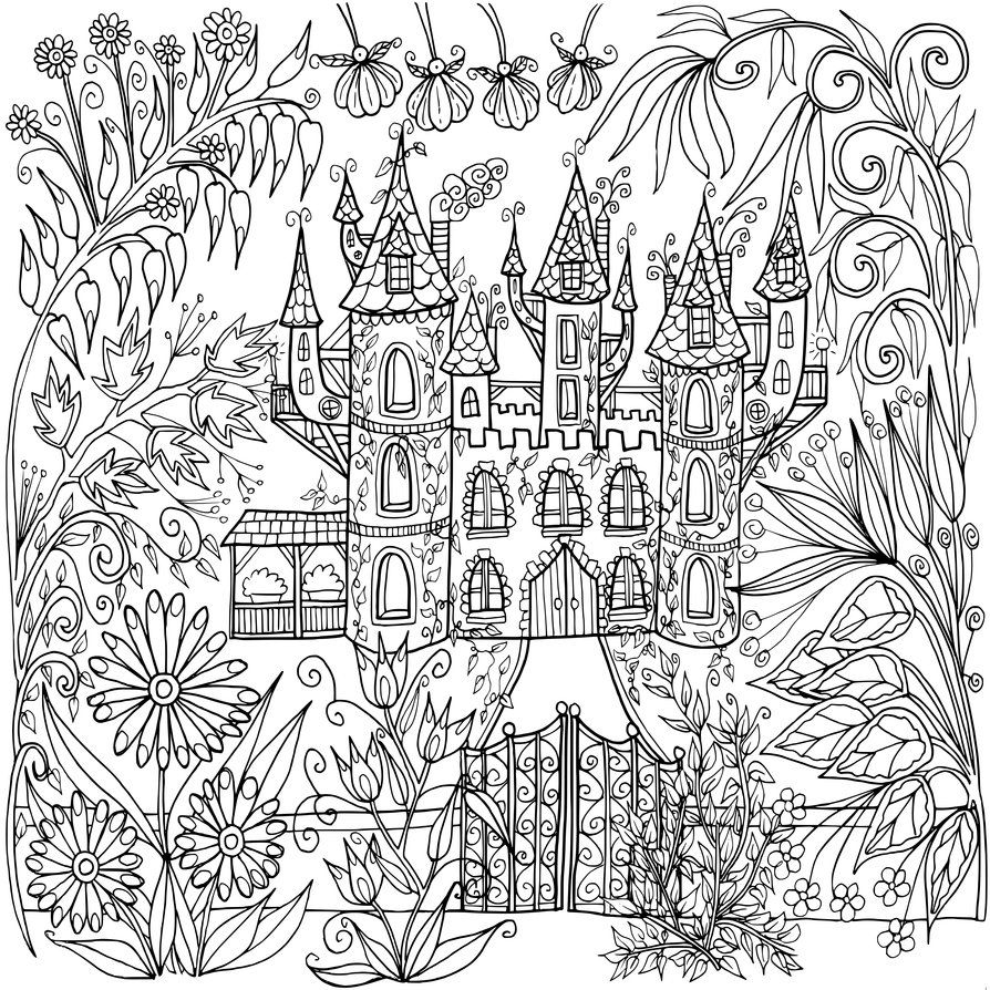 Flowers coloring book beautiful pictures from the garden of nature - Castle In Flowers By Welshpixie On Deviantart
