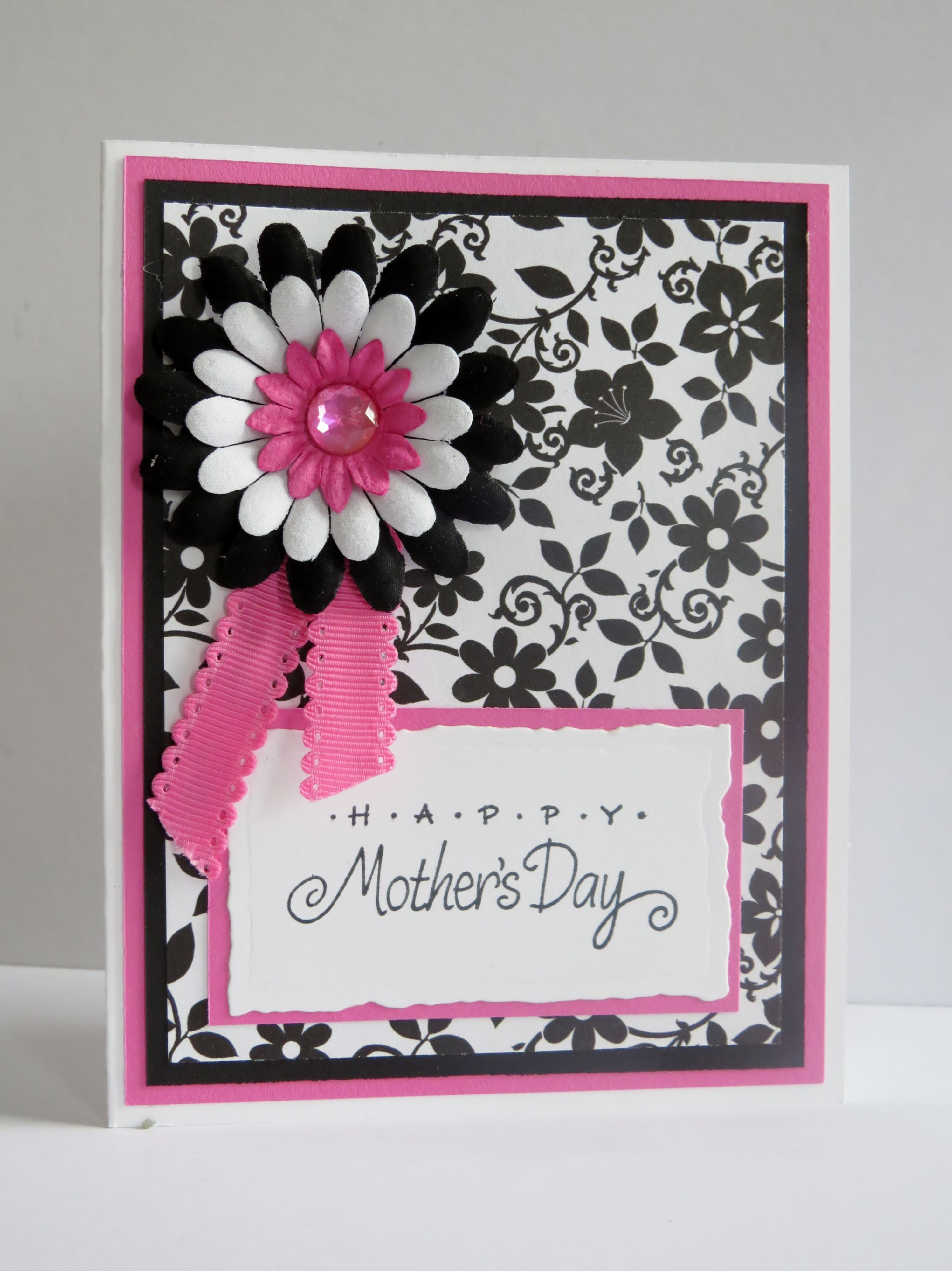 Handmade Mothers Day Card.  Black, white and pink.