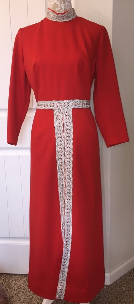 Vtg Red Polyester Dress L/S Handmade Silver Trim Front Slit Maxi MCM Mod #Handmade #AddStyle #Formal