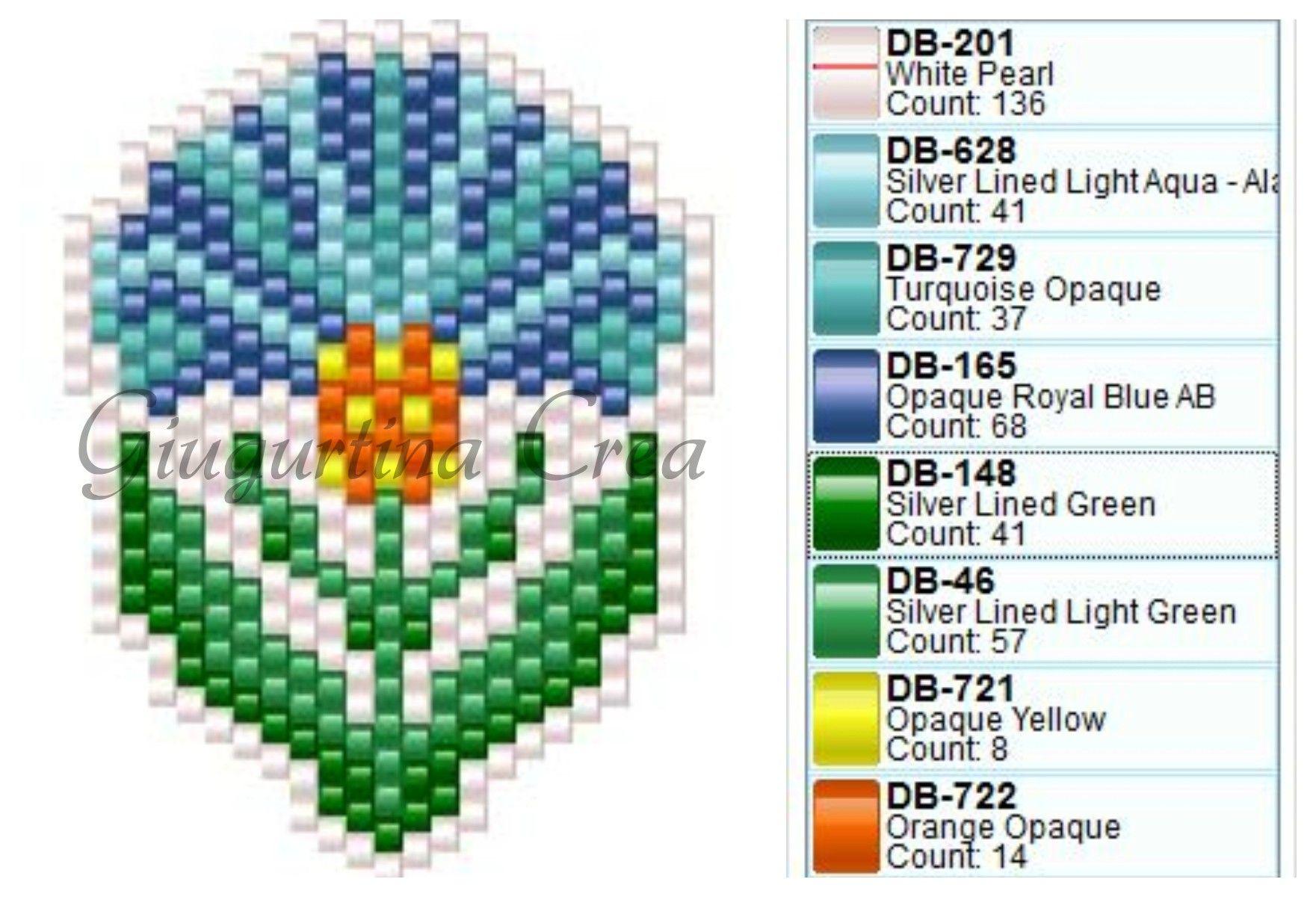Peyote stitch flower pattern | Boncuk desenleri | Pinterest ...