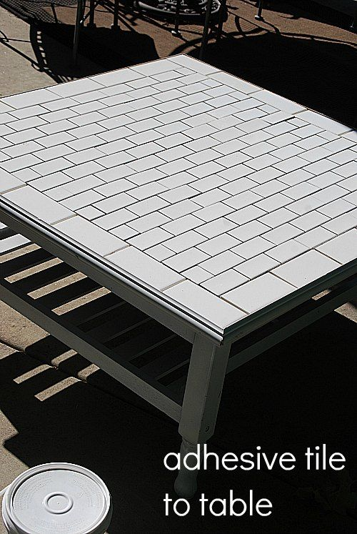 Subway Tile Table Makeover Tile Tables Tiled Coffee