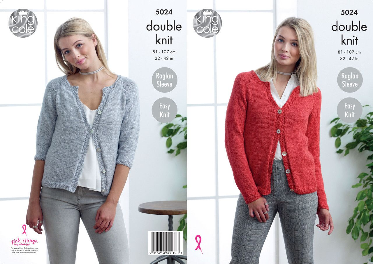 e586db4ec King Cole Double Knitting Pattern - Ladies Cardigans (5024) - Mill Outlets