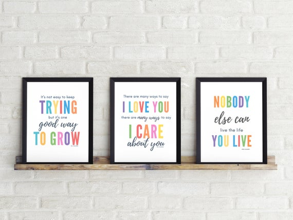 Set Of 3 Printsmr Rogerscolorful Wall Artnursery Etsy Colorful Wall Art Nursery Quotes Prints