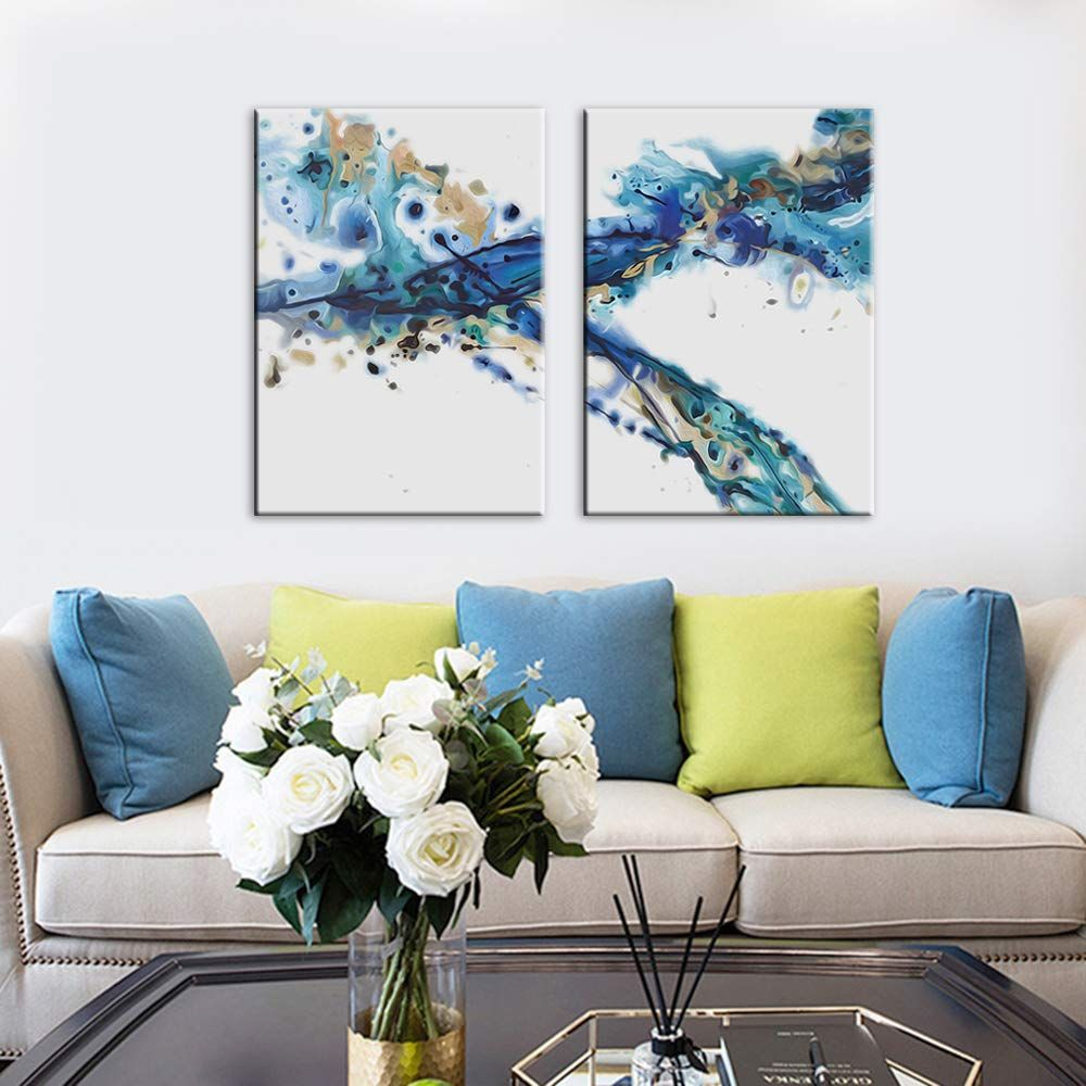 Amazon Com Canvas Wall Art Abstract Powder Ink Painting Prints Wall Artworks Pictures 2 Panels Canvas Print Wall Art Living Room Wall Artwork Canvas Wall Art