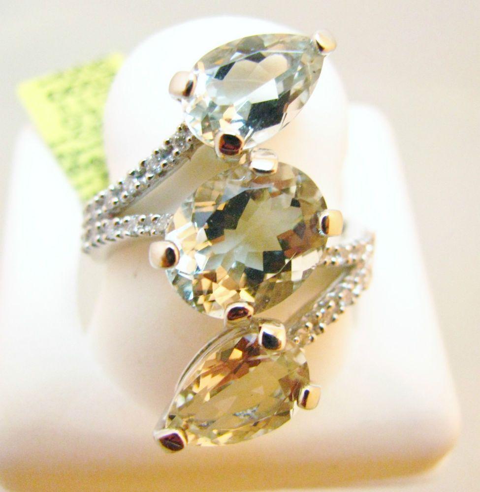 6+ CT Green Amethyst & Diamond Ring in Wrap Style setting 10k WG, NWT