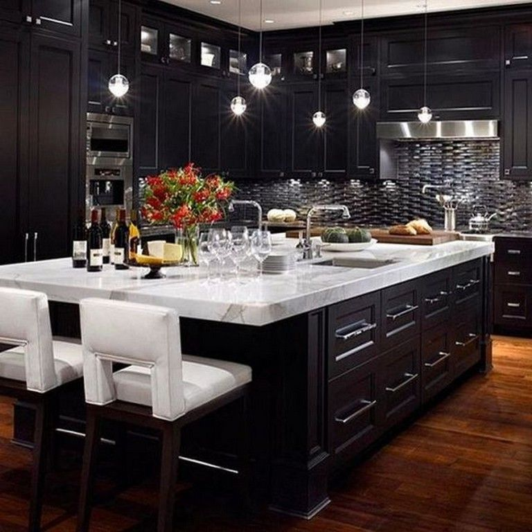 22 Stunning Elegant Black Kitchen Island Ideas Classy Home Kitchens Kitchendesign Kitchenid Home Decor Kitchen Dream Kitchens Design Black Kitchen Cabinets