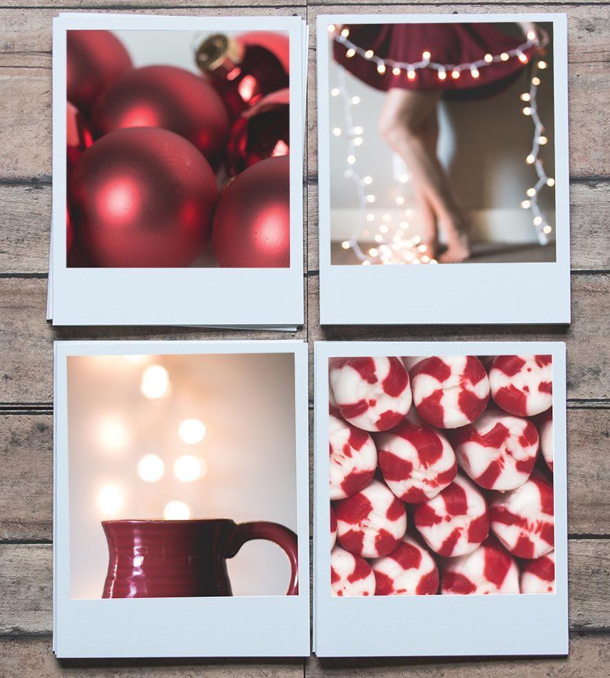 Red polaroid holiday cards set of 8 cosas de casa for Cosas del hogar online