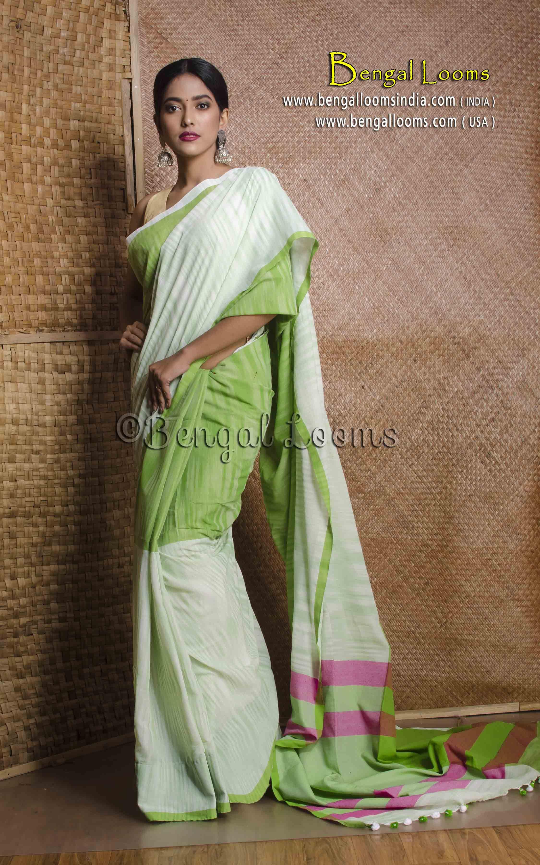 313b6c666d Pure Handloom Khadi Soft Cotton Saree in Green | Khadi Sarees ...