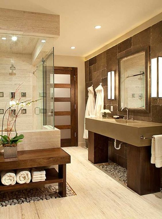 Warm Neutral Tones Work Together To Create A Clean Color Palette In This Bathroom Zen Bathroom Design Spa Bathroom Design Luxury Spa Bathroom