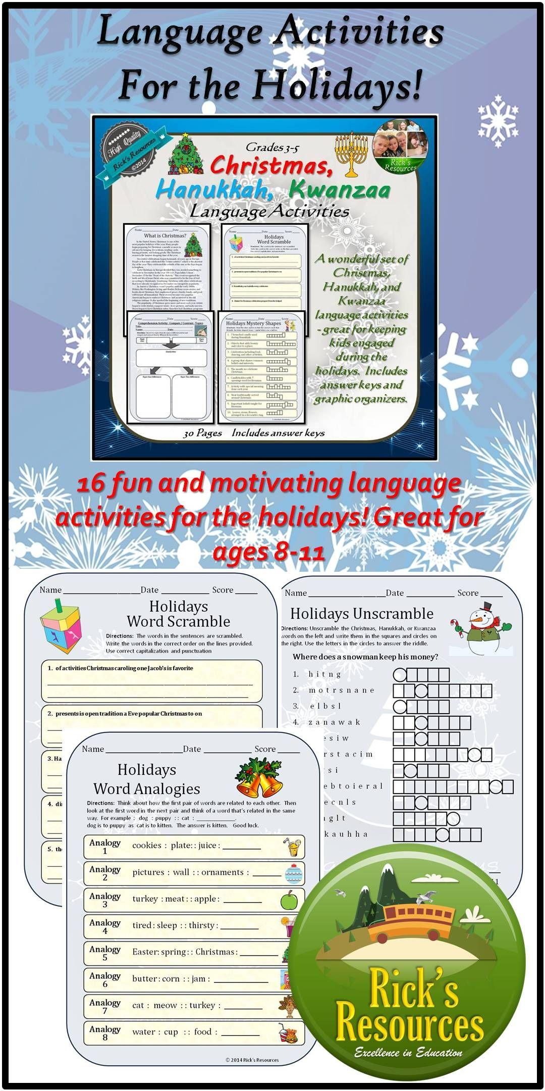 Christmas Hanukkah Kwanzaa Language Activities With