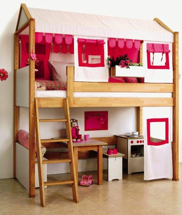 Kinderbett häuschen  abenteuerbett-hochbett-modern - wie ein häuschen aussehen ...
